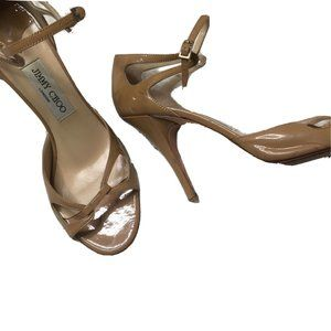Jimmy Choo 40 US 10 Nude Open Toe Beige Heels